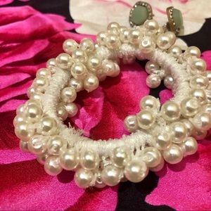 Pearl Hair Tie Accessory Scrunchie Holiday New